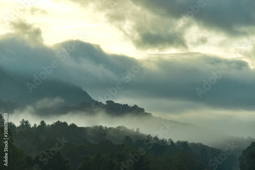 Foggy morning over Blue Ridge Mountains in Hendersonville, NC