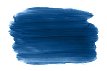 Classic Blue Color Swatch. Paint  Brush Strokes Isolated On White Background. Year 2020 Trend