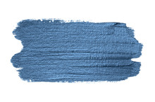 Classic Blue 2020 Year Color Metallic Paint Brush Strokes Isolated On White Background. Shiny Makeup Swatch