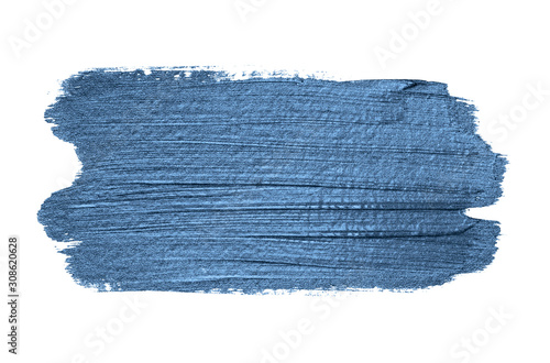 Obraz Classic blue 2020 year color metallic paint brush strokes isolated on white background. Shiny makeup swatch - fototapety do salonu