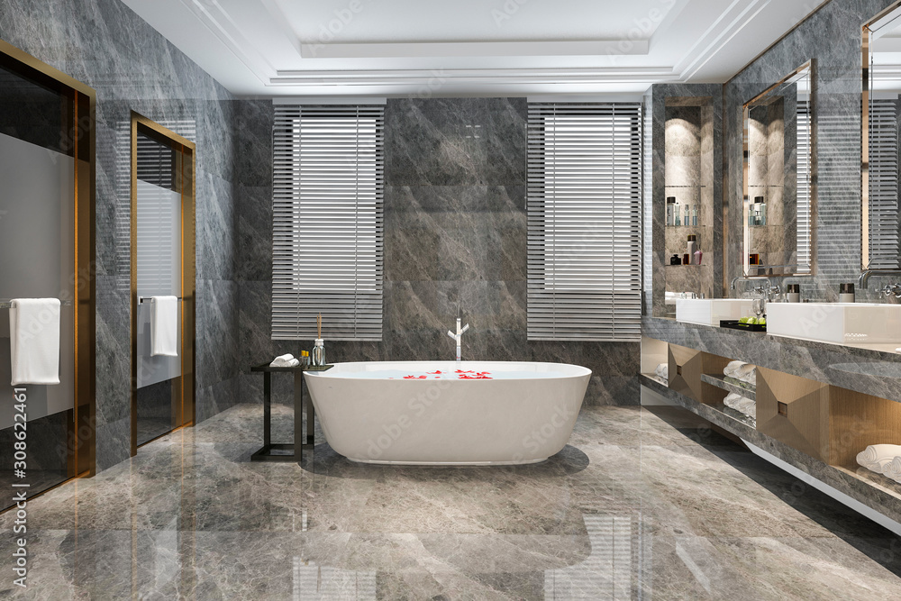 Fototapeta 3d rendering classic modern bathroom with luxury tile decor