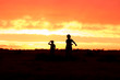 Silhouette of two boys playing on a farm at sunset