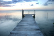 Small wooden pier on a lagoon in Sian Ka'an biosphere reserve, Mexico