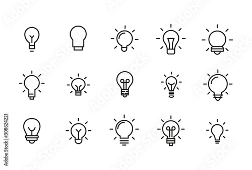 Stroke line icons set of bulb. Fototapet