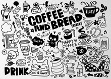 Set Of Hand Drawn Coffee And D...