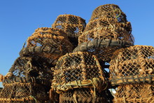 Stack Of Lobster Pots Against ...