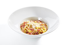 Spaghetti Carbonara With Grated Parmesan And Bacon