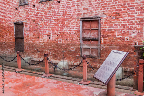 Bullet holes at the Jallianwala Bagh massacre site in Amritsar, Punjab state, In Canvas Print
