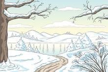 Cartoon Winter Landscape. Hand...