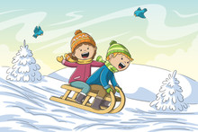 Two Kids Go Sledging. Hand Drawn Vector Illustration With Separate Layers.