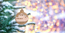 Wooden Ship On Christmas Tree....