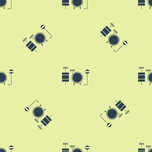 Blue Drums Icon Isolated Seamless Pattern On Yellow Background. Music Sign. Musical Instrument Symbol. Vector Illustration