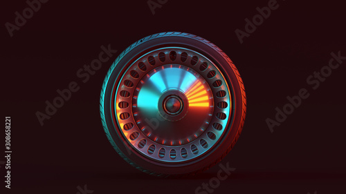 Fotografía Silver Alloy Rim Wheel Closed Retro Wheel Design with Racing Tyre with Red Blue