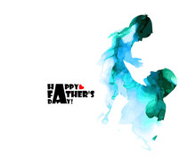 Colorful Silhouette Of Dad And...