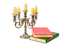 Sconce With Candles And Books ...