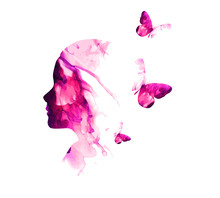 Silhouette Of A Girl From Spots Of Paint With Butterflies. Mixed Media. Vector Illustration