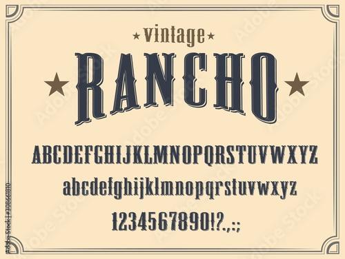 Fényképezés Wild West Western alphabet font vector design