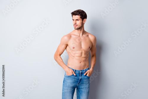 Photo of handsome macho man guy topless sporty torso metrosexual hot tender body Canvas Print
