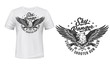 Eagle, sky rangers and gun shooters club vector T-shirt print template mockup. Hunt club sign of bald eagle or falcon hawk with crossed pistol or revolver guns weapon and stars