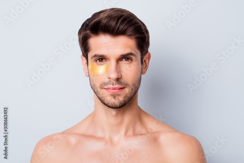 Close-up portrait of his he nice attractive confident groomed bearded brown-hair Wallpaper Mural