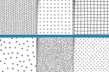 Abstract Hand Drawn Monocolor Seamless Patterns Set