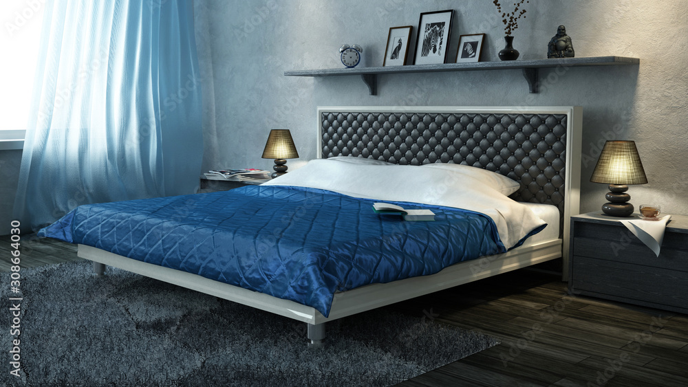 Fototapeta Double bed with blue quilt in the bedroom. 3 D objects.
