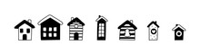 Decorative Vector Houses Doodle Icons Set. Hand Drawn Cute Christmas Monochrome Collection. Home Sweet Home Concept. Scandinavian Design. Illustration For Paper, Laser Plotter Cutting, Holiday Card