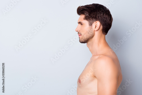 obraz dibond Close-up profile side view portrait of his he nice attractive content well-groomed calm brunette guy perfect smooth soft skin spa therapy isolated over light white grey color pastel background