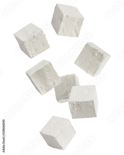 Fototapeta Falling Feta, Greek cheese cubes, isolated on white background, clipping path, full depth of field obraz