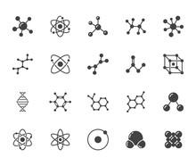 Molecule Flat Glyph Icons Set....