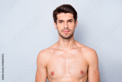 Portrait of focused charming guy have spa salon body treatment get flawless perf Fototapet