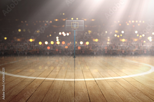 Photo Basketball court with wooden floor and tribune
