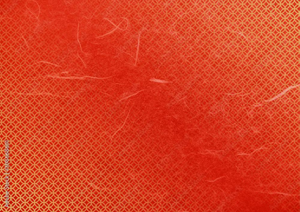七宝和柄和紙テクスチャ背景素材-赤色