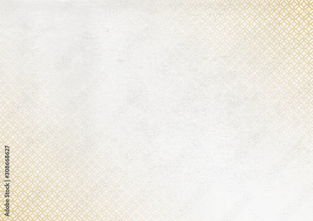 七宝和柄和紙テクスチャ背景素材-白色