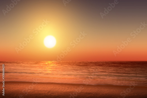 Photo Stands Cuban Red Sandy beach with the blue ocean