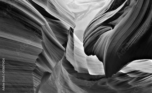Tela Black and white creative photography of Antelope canyon in Arizona, USA