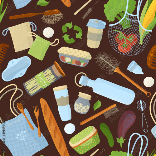 Recyclable food and accessories, kitchen items seamless pattern Wallpaper Mural