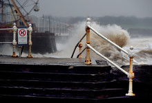 Heavy And Dangerous Sea At Bridlington In North Yorkshire, UK.
