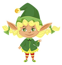 Elf Girl Isolated Icon, Female Santa Helper With Braids, Fantastic Cartoon Character. Christmas And New Year Symbol, Green Costume And Striped Stocking. Imaginary Cute Dwarf Vector Illustration