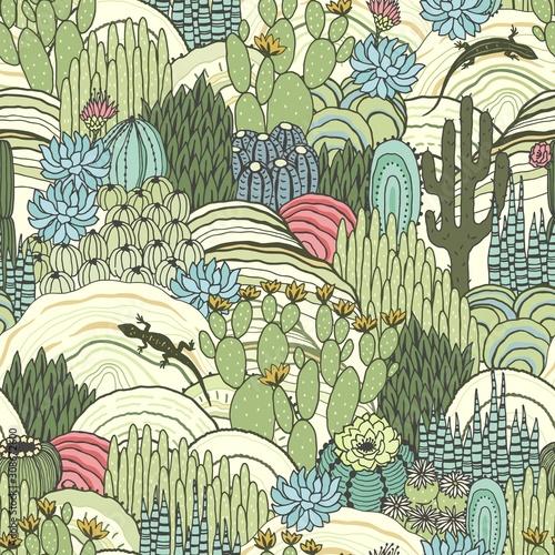 kaktusy-sukulenty-i-jaszczurki-na-zewnatrz-kwiatowy-krajobraz-wzor-srodowisko-wektorowa-reka-rysujaca-ilustracja-w-rocznika-stylu