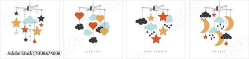 Fotografía Baby mobile set. Vector stock illustration isolated on white.