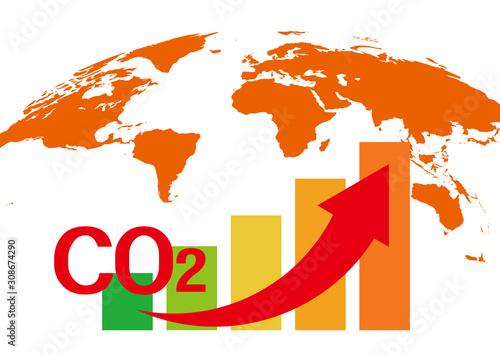 二酸化炭素増加による地球温暖化イラスト Canvas Print