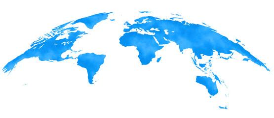 水彩風、世界地図、青、ヨーロッパ中心