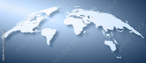 Fotografie, Obraz  世界地図背景、ヨーロッパ中心
