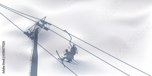 Fényképezés Concept des sports d'hiver et des vacances à la montagne avec le symbole du télésiège dont l'ombre se dessine sur la neige