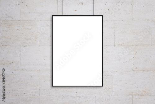 Fototapeta Hanging poster frame mockup. Blank, white isolated surface for ad design presentation obraz
