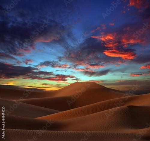 beatiful landscape with sand dunes in Sahara desert at sunset