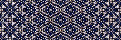 Seamless pattern in arabic style. Golden blue background Fototapeta