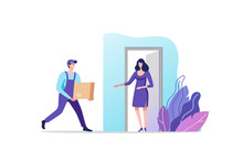 Delivery Service. Woman Receiving Parcel From Courier On Doorstep. Vector Illustration.