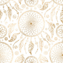 Hand Drawn Gold Boho Seamless Pattern With Indian Tribal Dream Catcher And Beads On White Background